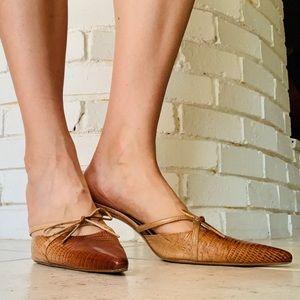 Antonio Melani Leather Low Heel Kitten Pump Slide